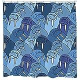 Walrus Decor, Walrus Shower Curtain, Nautical Bathroom Decor, Animal Pattern, Kids Shower Curtain, Blue Bathroom Curtain, Waterproof Fabric