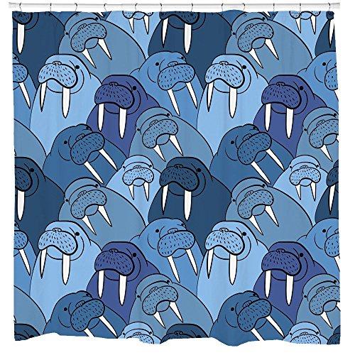 Walrus Decor, Walrus Shower Curtain, Nautical Bathroom Decor, Animal Pattern, Kids Shower Curtain, Blue Bathroom Curtain, Waterproof Fabric by Sharp Shirter