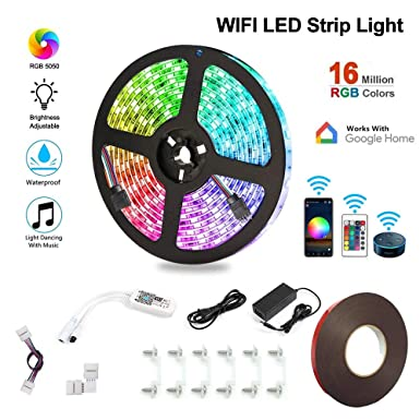 Goodtechnical LED Strip Lights, WiFi Wireless SmartPhone Controlled Waterproof 16.4FT Lights Strip Work with Android IOS System, Alexa,Google Assistant APP, For Kitchen,Room,TV, Party, DIY Decoration