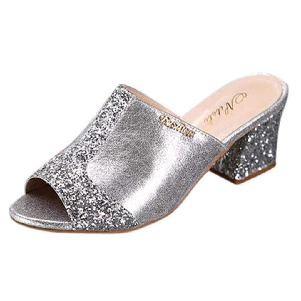Women's Slipper Sandals, Sexy Crystal Sandals Mid Heeled Peep Toe Dress Party Shoes Casual Slip On Slide Slipper Mules (Silver, US:6)