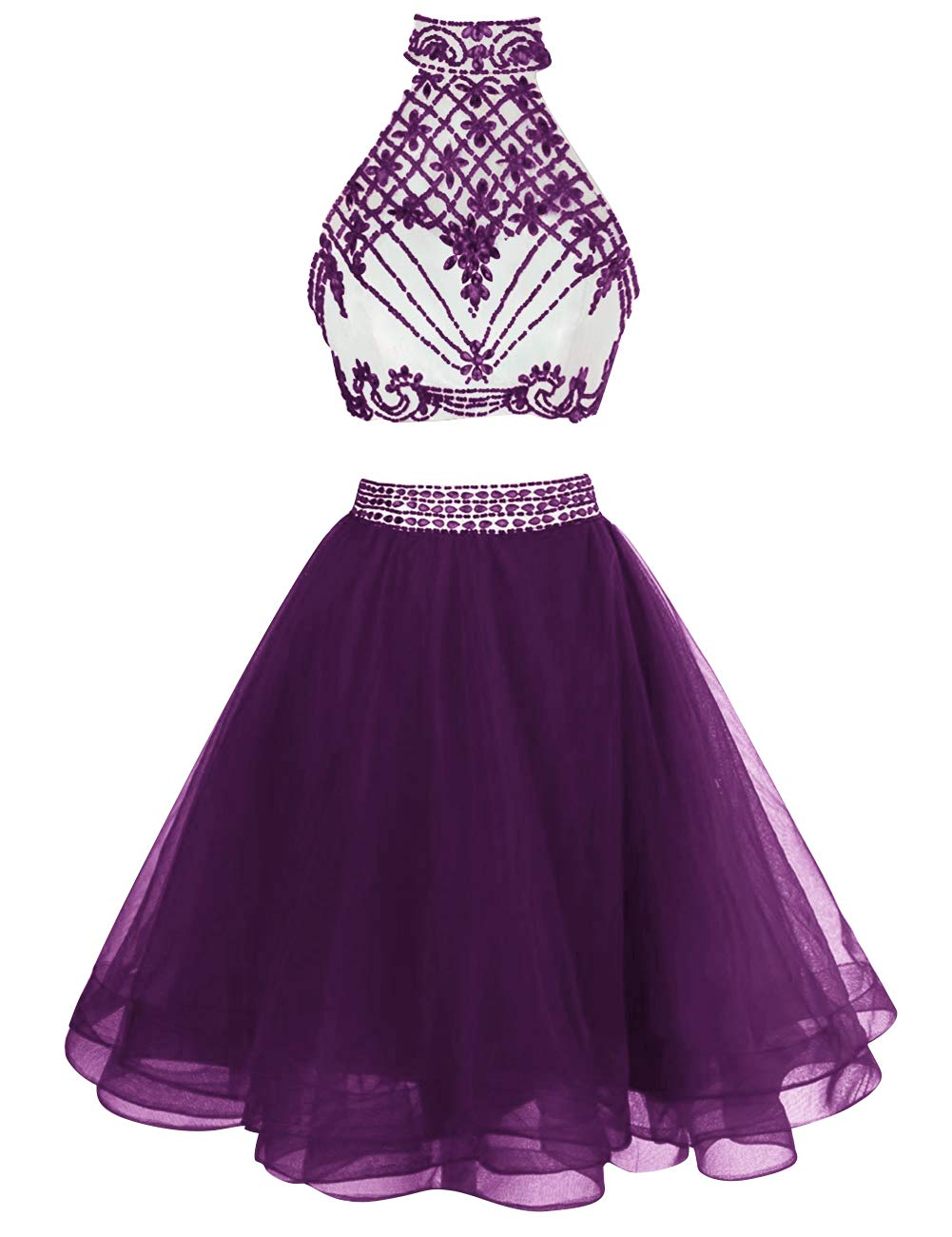 Homecoming Dresses Halter Cocktail Dress Short Homecoming Gown Eggplant 14