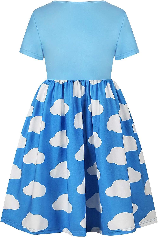 LZH Girls Casual Dress Unicorn Rainbow Flutter Sleeve Summer Cotton Skirt Sweing Dress