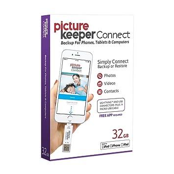 Picture Keeper Connect 32 GB Disco Flash USB Copia de Seguridad y Dispositivo de Almacenamiento portátil para teléfonos móviles Tablets y Ordenadores: ...