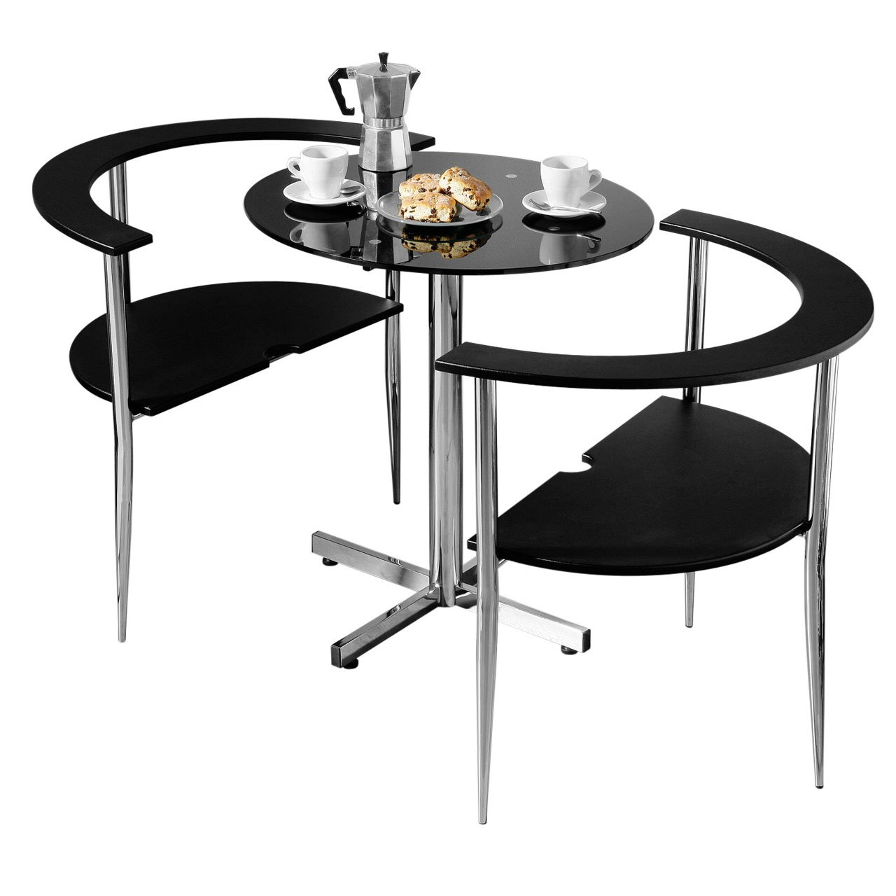 Marvelous 3pc BLACK GLASS LOVE DINING TABLE SET WITH 2 CHAIRS: Amazon.co.uk: Kitchen  U0026 Home