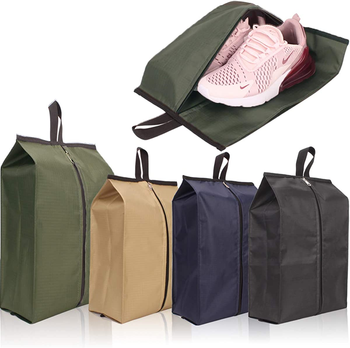 Portable Travel Shoe Organizer Bags 4 Pack Set Reusable Waterproof Durable Space Saving Storage Bags Colorful with Zipper Closure
