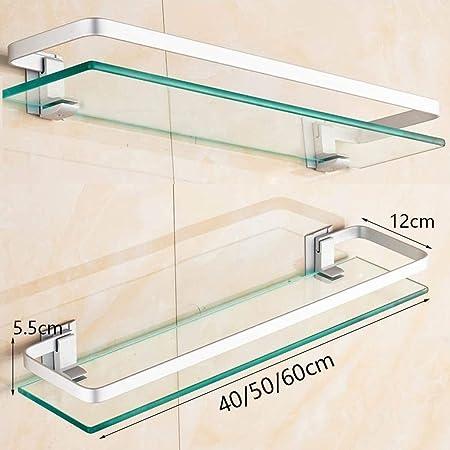 Estantes estantes de baño estante de vidrio baño estante ducha mampara de ducha montada en la pared y montado en la pared de acero inoxidable cepillado 304 (Size : 50cm): Amazon.es: Bricolaje