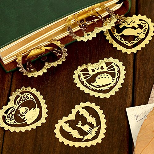 Lace Markers - 12 pcs/Lot Cute animal Lace metal bookmarks for book marker Mini gold bookmark tab Stationery office School supplies 6836
