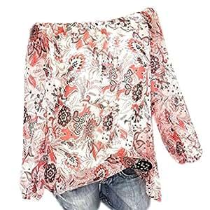 Mujer blusa tops Otoño talla grande suave suelto ropa de moda urbano,Sonnena Camisa con estampado floral hombros descubiertos Suelta blusa casual traje de calle Otoño