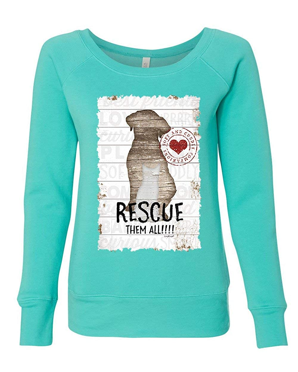 Rescue Them All Womens Sweatshirt Pet Dog Cat Shelter Animal Rescue Paw