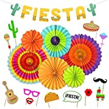 Fiesta Party Supplies Fiesta Photo Booth Props Hanging Paper Fans Cactus Banner for Cinco De Mayo Mexican Luau Party Decorations