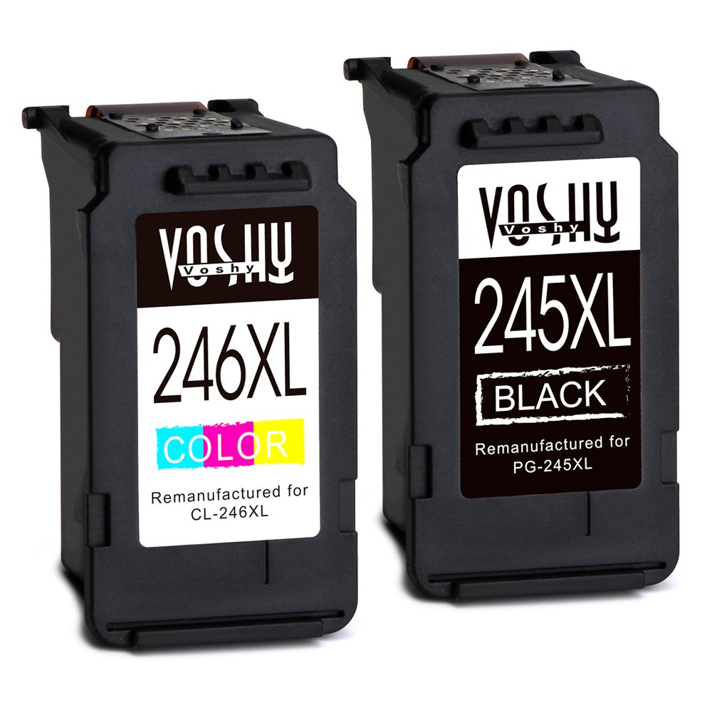 Voshy Remanufactured Canon PG-245 CL-246 Ink Cartridges, High Yield Replacement for Canon Pixma MX492 MG3022 MG2520 MG2522 MG2920 IP2820 MX490 MG2922 MG3020 MG2420 TS3120 MG3029-1 Black, 1 Tri-Color