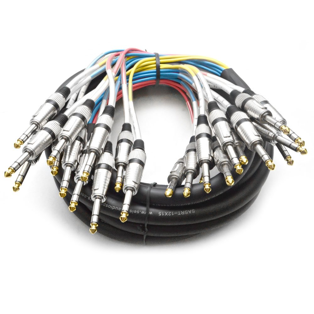 12 Channel 1/4'' TRS Snake Cable - 15 Feet Long - Serviceable Ends - Pro Audio Effects Snake for Live Live, Recording, Studios, and Gigs - Patch, Amp, Mixer, Audio Interface 15'