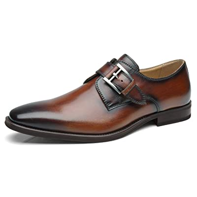La Milano Mens Plain Toe Single Monk Strap Slip on Loafers Leather Oxford Modern Formal Business Dress Shoes ... | Loafers & Slip-Ons