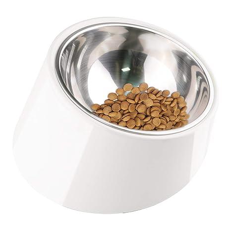 Superdesign Comedero Perro Inclinado Comedero Gato Poco Profundo con Cuenco INOX de inclinación 15 °