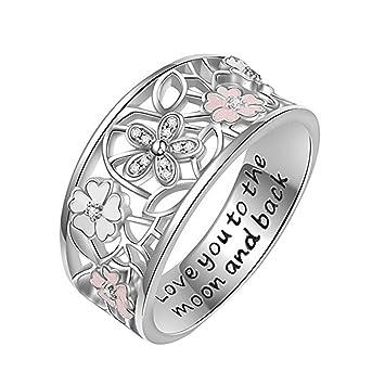 Amazon Com Yomxl Love You Cherry Blossoms Hollow Ring Women Girls