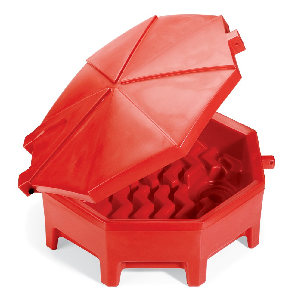 "New Pig Poly Drum Funnel with Hinged Lid, For 55 Gal Tight-Head Steel & Poly Drums, 29"" Diam x 11"" H, Red, DRM672-RD by New Pig Corporation (Image #1)"
