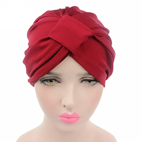 Gudelaa Womens Soild Color Hair Wrap Cover Up Indian Turban Hats Gorras de modal rojo 58CM
