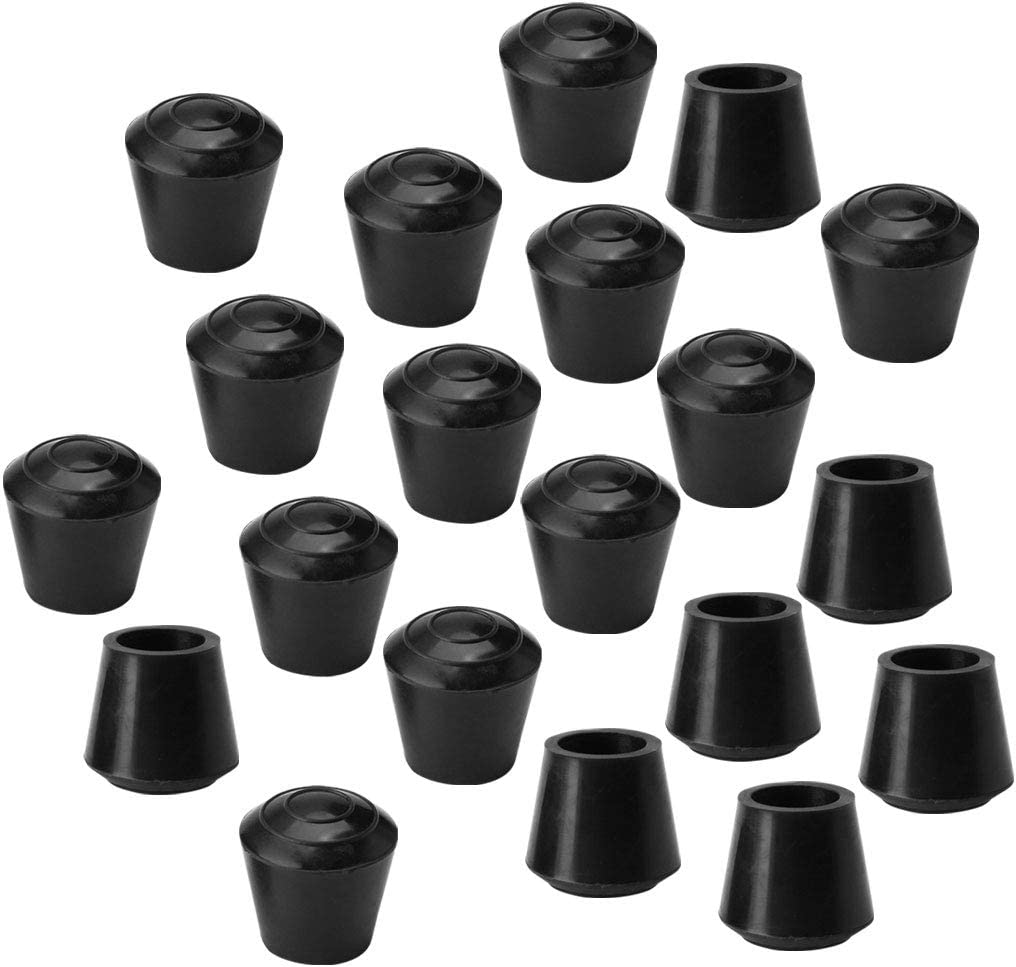 uxcell 20pcs Chair Leg Tips Caps 10mm 3/8 Inch Inner Dia Anti Slip Rubber Furniture Table Feet Cover Floor Protector Reduce Noise Prevent Scratches