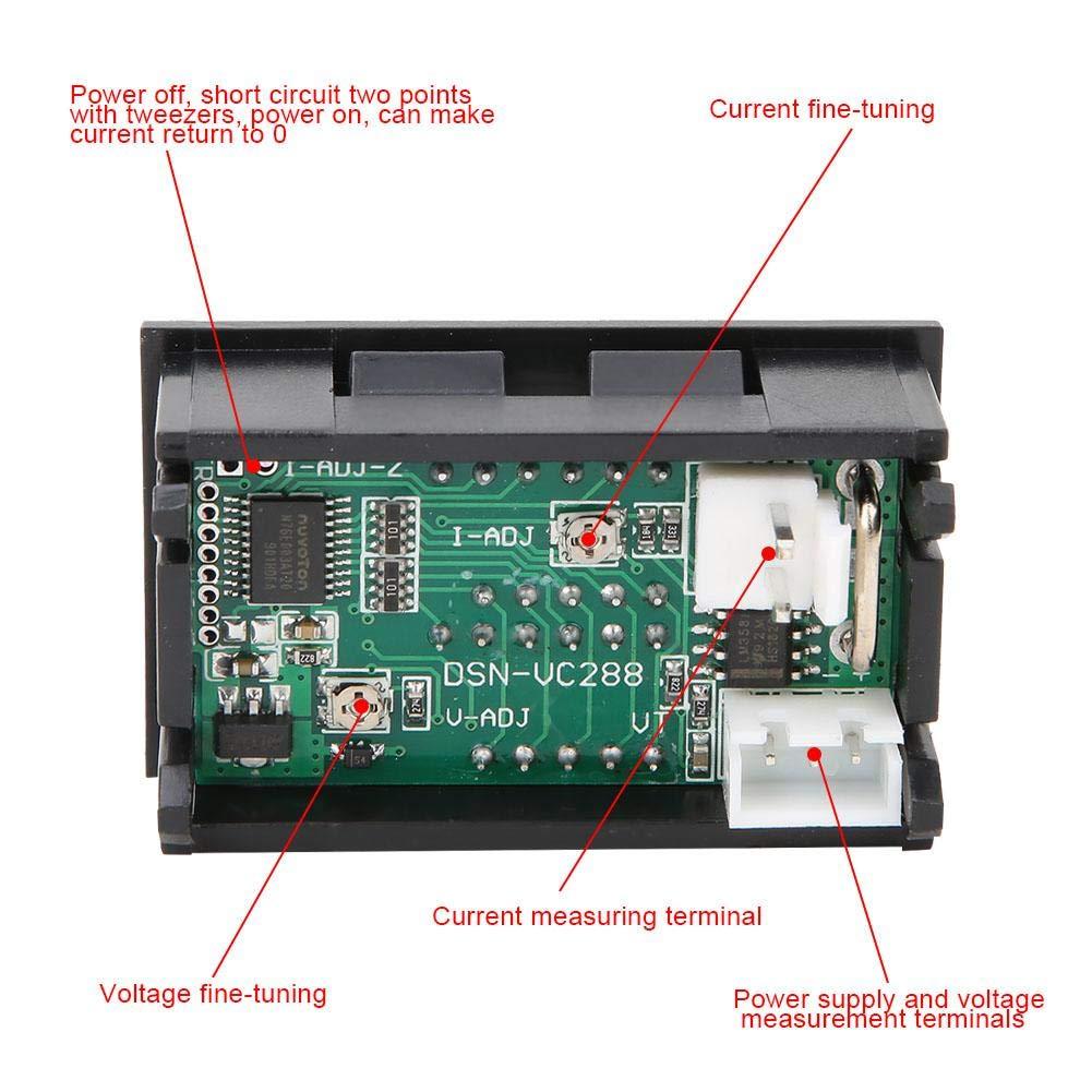 NITRIP DC0-100V//10A LED DC Dual Digital Display Voltage Gauge Mini Voltmeter Ammeter Blue Red