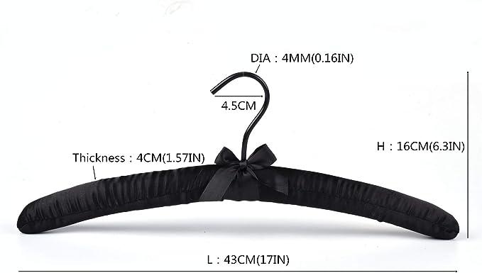 TOPIA HANGER/Satin/Padded/Hangers/for/Women/Clothing/5/Pack,/Non-Slip//&/Thick/Foam/Ivory Hangers/for/Coat,/Blouse,/Sweaters,/Dresses/CT18I