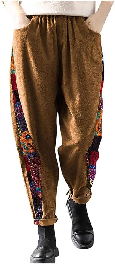 Pantalones Mujer Tallas Grandes Anchos Casual Pantalones De Pana Con Estampado De Patchwork Casual Vintage Para Mujer Pantalones De Pierna Ancha Con Cintura Elastica Amazon Es Ropa Y Accesorios