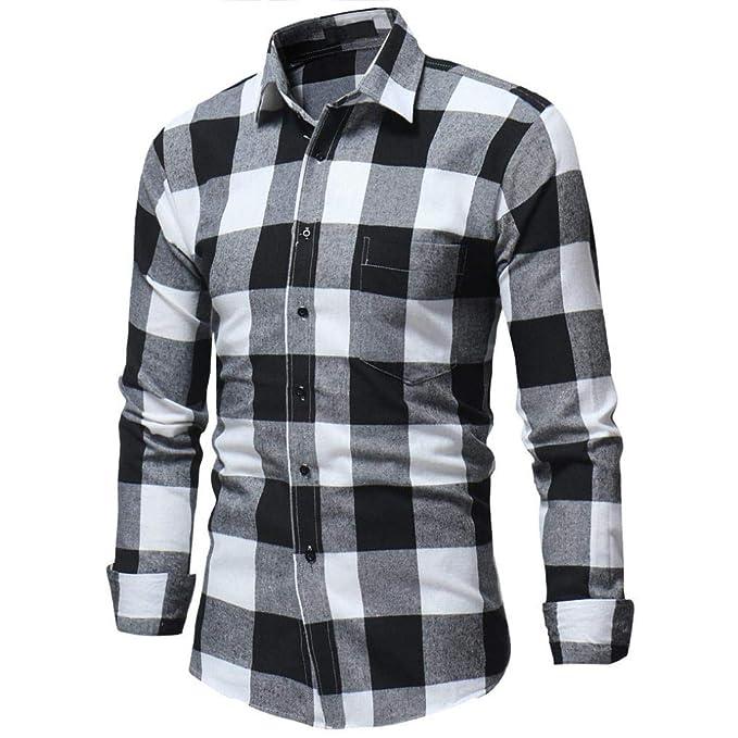 feiXIANG Camiseta Blusa Superior de Hombre de Manga Larga con Estampado a Cuadros de otoño e