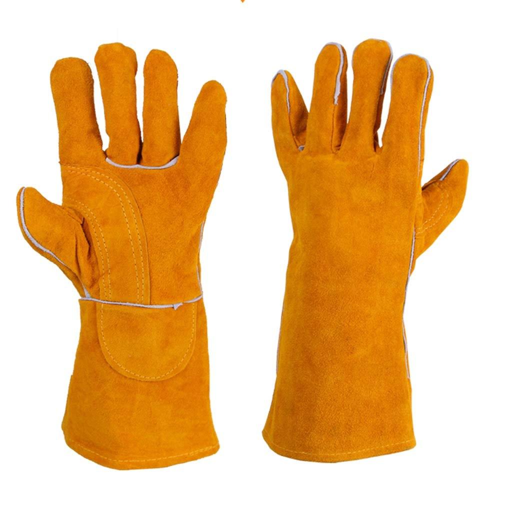 LDKFJH Long Gardening Gloves for Men and Women,Welding Gloves & Fireplace Gloves & Grill Gloves & BBQ Gloves, Heavy Duty, Heat Resistant (Yellow) (Size : (14cm40cm) 2pcs)