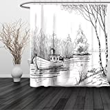 HAIXIA Shower Curtain Apartment Boat on the River by the Water Reeds Fishing Lake Plants Hand Drawn Style Nature Art Queen Full Black White