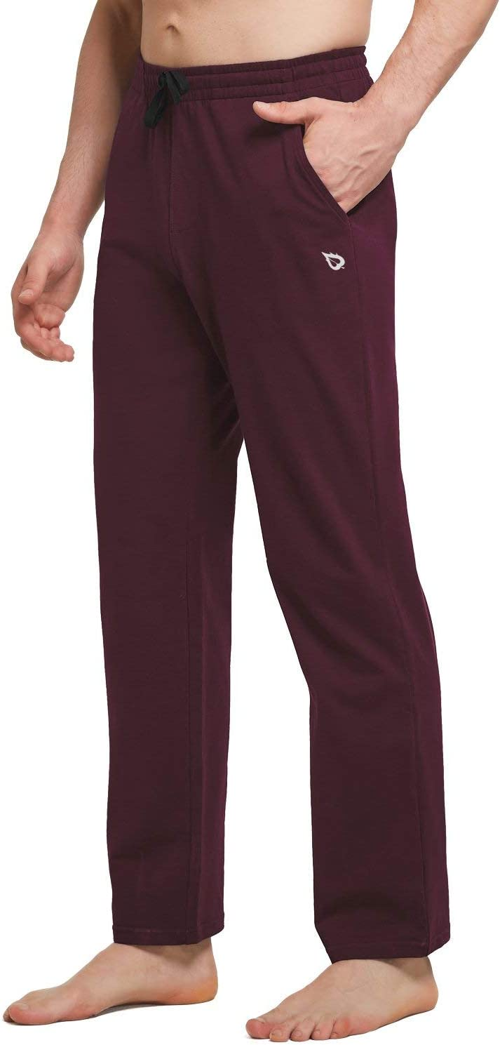 BALEAF Men's Cotton Yoga Sweatpants Open Bottom Joggers Straight Leg Running Casual Loose Fit Athletic Pants with Pockets: Clothing