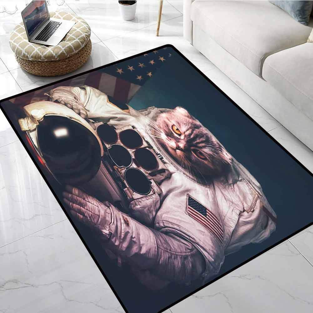 Space Cat Outdoor Carpet Vintage Image Astronaut Kitty with American Flag Patriot Animal Office Chair Floor Mat Foot Pad 24 X 36 Inch