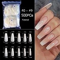 100pcs/Bag False Coffin Nails Ballerina Fake Nails Flat Shape Nail Art Tips Natural Clear Full Cover Manicure Fake Nail Tips (Color : 500pcs GCNatural)