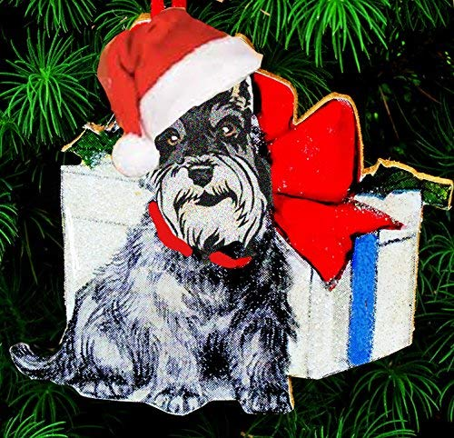 Mini Schnauzer Handcrafted Wood, Christmas Ornament, 1950s Christmas Card, Santa Hat, Dog Ornament, Dog Lover Vet Dog Walker Gift