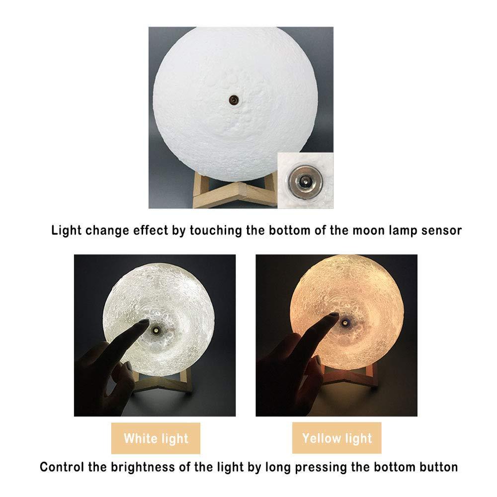 Luz Nocturna Luna LED Lampara Luna Grande Conexi/ón Usb con 2 Colores e Intensidad Luz de Noche Ambiente L/ámparas para Ni/ños Beb/é Regalo de Fiesta Decoraci/ón Personalizada Foto L/ámpara de Luna 3D