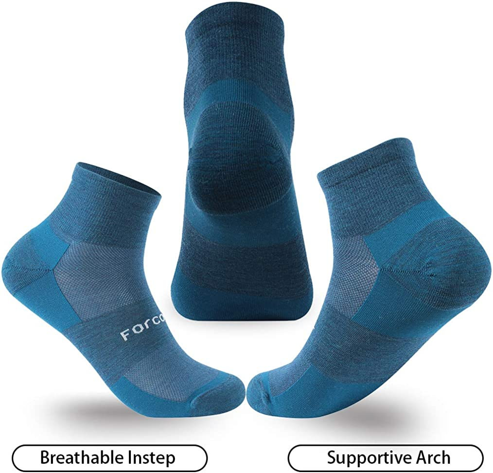 Forcool 80/% Merino Wool Running Athletic Ultra-Light Cushion Ankle Low Cut Socks for Women and Men