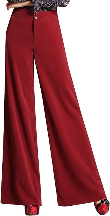 Laemilia Pantalones Para Mujer Color Negro Con Cintura Alta Monocromos De Tela Elegantes Rojo Grueso 40 Amazon Es Ropa Y Accesorios