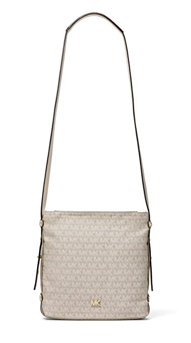 c9f6043bb294 Amazon.com: MICHAEL Michael Kors Griffin Medium Logo Jacquard Messenger -  Natural: Shoes