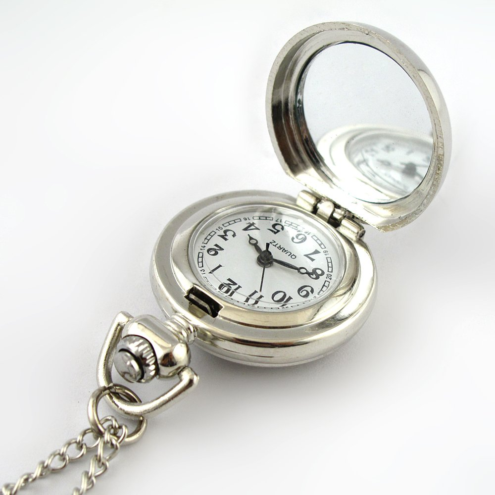 Amazon.com: YouYouPifa Fashion Flower Pattern Pattern Silver Small Pocket Watch (Blue): Health & Personal Care