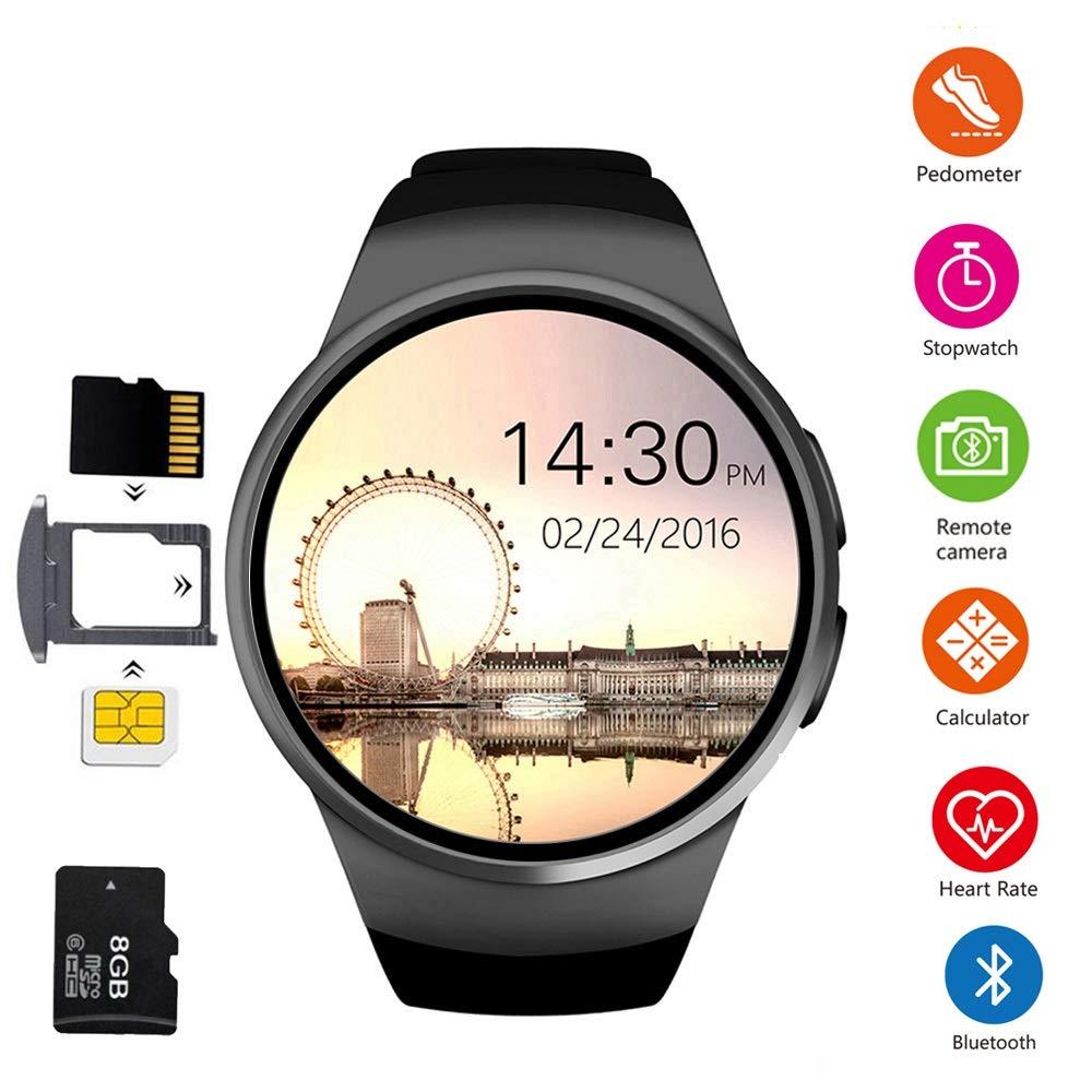 Z&YY Bluetooth smartkortklocka, aktivitetsmätare med pulsmätare och sömnskärm, kaloriräknare för Android och iOS svart