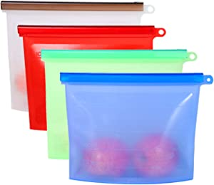 Reusable Extra Thick Silicone Food Storage Bags, Roberlence(4 Color) Environmentally Friendly Sealed Bulk Bag, for Vegetable,Fruit,Snack,Sandwich Lunch Freezer Airtight Seal Food Preservation Bags
