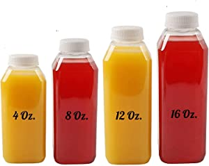 Plastic Juice Bottles, 10 Pack Food Grade BPA Free Empty Square Milk Containers, Great For Storing Homemade Juices, Milk, Beverages, With Tamper Evident Caps. (8 Oz)