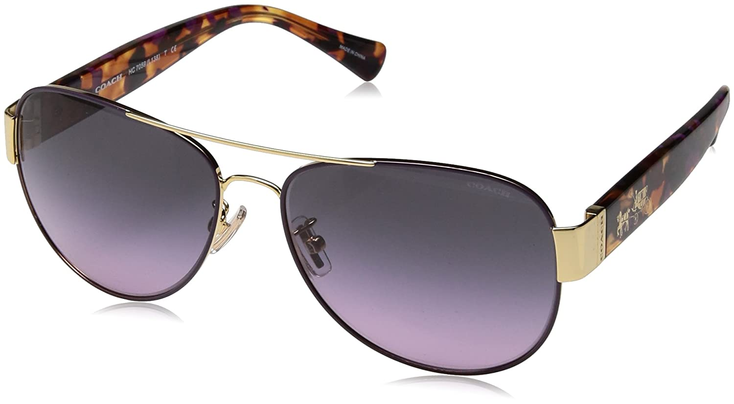 ae4b2980d5 Amazon.com  Coach Womens L138 Sunglasses (HC7059) Gold Brown Metal -  Polarized - 58mm  Clothing