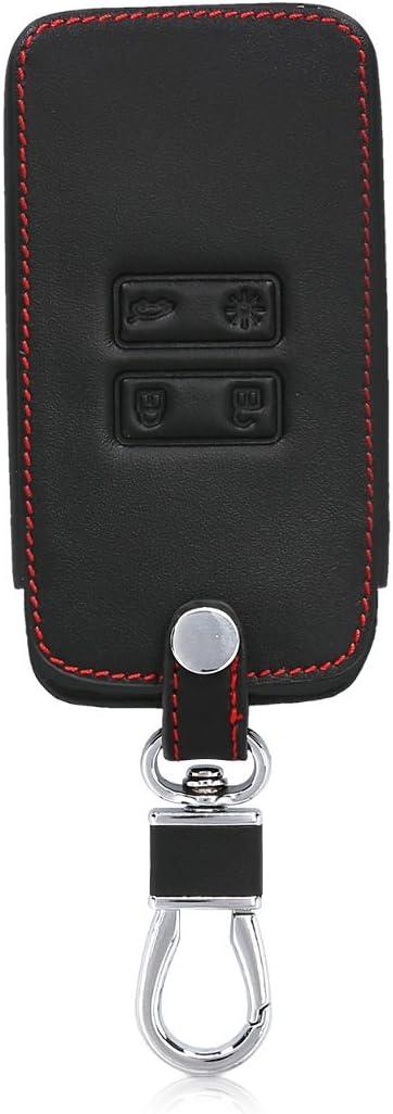 Coque de cl/é de Voiture en Simili Cuir pour Clef de Voiture Smart Key Renault 4-Bouton - Blanc-Noir kwmobile Accessoire Clef de Voiture pour Renault Keyless Go Uniquement