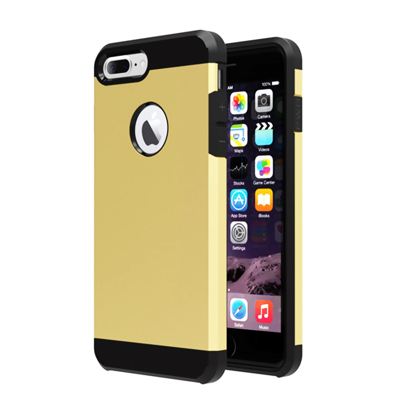 iPhone 7 plus Case,iBarbe Slim Extreme Heavy Duty Rugged Hybrid Impact 2 Color Shockproof Soft Rugged Hard PC Anti-slip Cover Armor Shock Absorption Protection for Apple iPhone7 plus(gold/black)