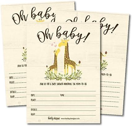Jungle Baby Shower Baby Shower Invitation Girl Girl Baby Shower Baby Shower Thank You Cards Giraffe Baby Shower Giraffe Invitation