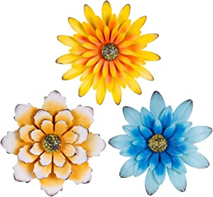 "12"" Metal Flower Wall Decor; 3D Yellow And Blue Rustic Flowers For Farmhouse Wall Decor; 3 PACK Flower Wall Hanging For Living Room, Bed Room, Garden, Yard Decorations- Indoor Outdoor Use"