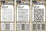 Tim Holtz - Nine Mini Stencils - NEW for Spring 2018 - Stitched, Dotted, Dashes, Code, String, Thatched, Hive, Organic, and Cells - aka sets 33, 34 & 35