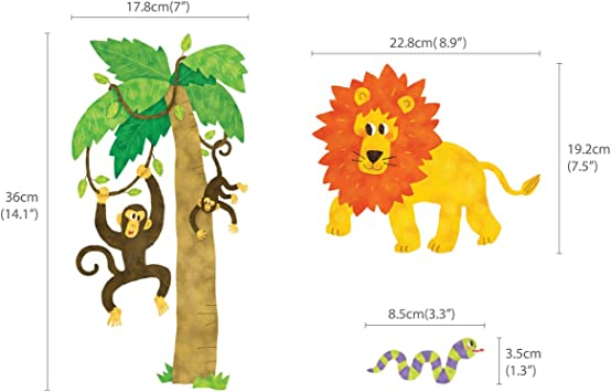 Peque/ña DECOWALL DS-8013 Animales de la Jungla Vinilo Pegatinas Decorativas Adhesiva Pared Dormitorio Sal/ón Guarder/ía Habitaci/ón Infantiles Ni/ños Beb/és