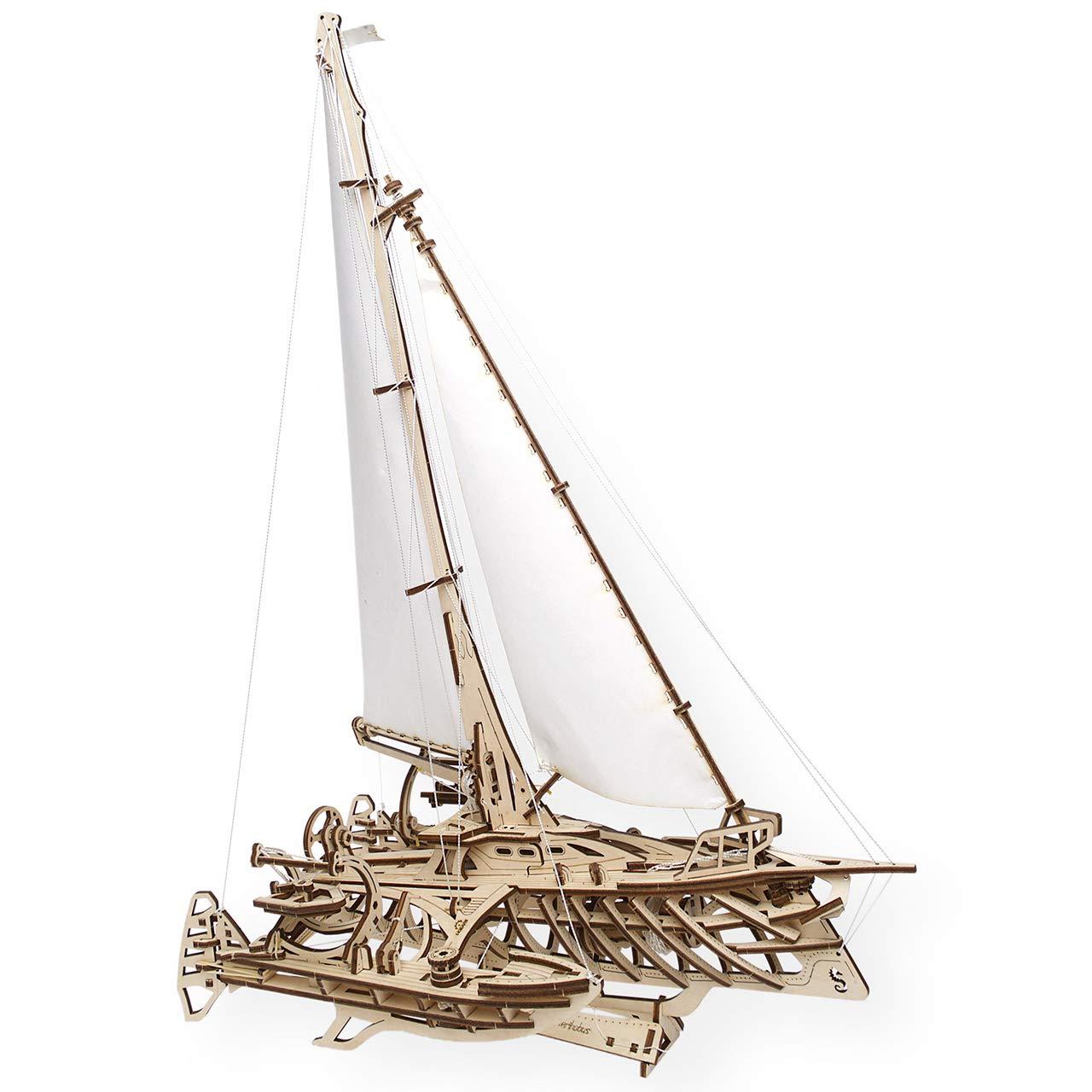 UGEARS TRIMARAN MERIHOBUS Wooden Model for Assembling 3D Brainteaser Adults and Teens Craft Kit Gift