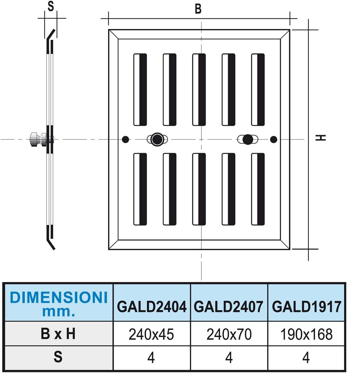 La Ventilazione GALD2407 Grille de ventilation rectangulaire en aluminium avec doseur et bouton m/étallique dimensions 240 x 70 mm