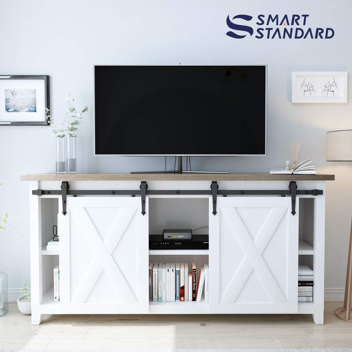 6ft Double Door Cabinet Barn Door Hardware Kit- Mini Sliding Door Hardware - for Cabinet TV Stand - Simple and Easy to Install - Fit 24'' Wide Door Panel (No Cabinet) (Mini Arrow Shape Hangers) by SMARTSTANDARD (Image #5)